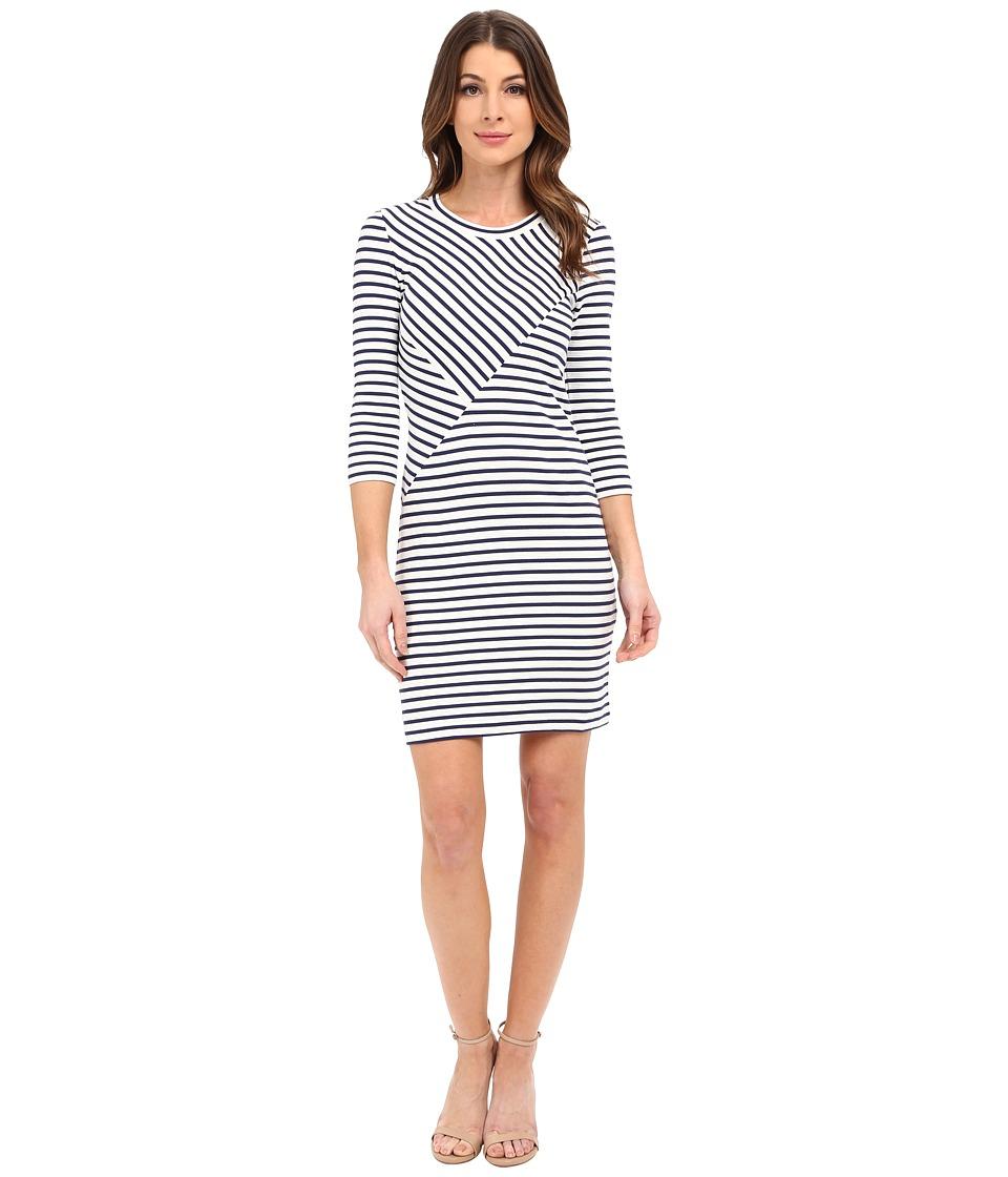 Lacoste 3/4 Sleeve Stripe Bodycon Dress Deauville Blue/Cliff Womens Dress