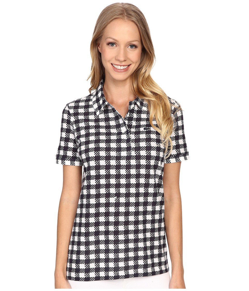 Lacoste - Short Sleeve Gingham Polo (Cliff/Navy Blue) Women