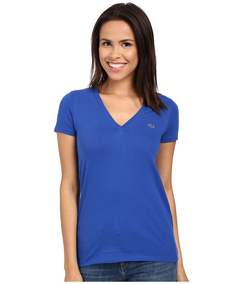Lacoste Short Sleeve Cotton Jersey V Neck Tee Shirt Delta Blue Womens Short Sleeve Pullover