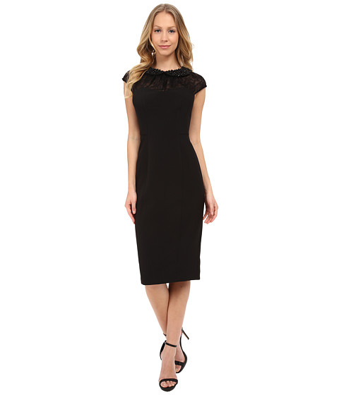 Maggy London Shimmer Lace Sheath with Beaded Collar