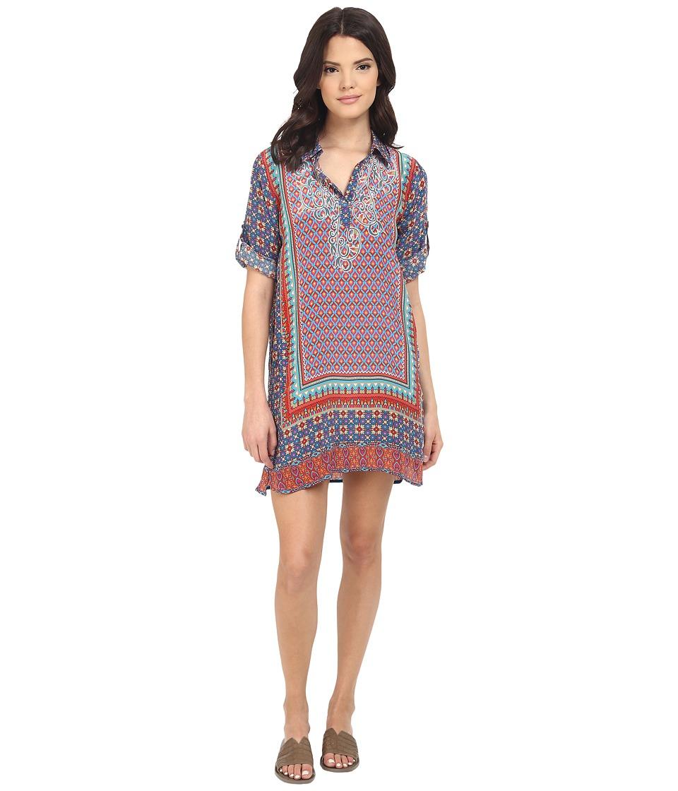 Tolani Peyton Dress Denim Floral Womens Dress