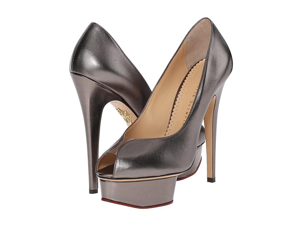 Charlotte Olympia Daphne Platform Gunmetal Metallic Nappa High Heels