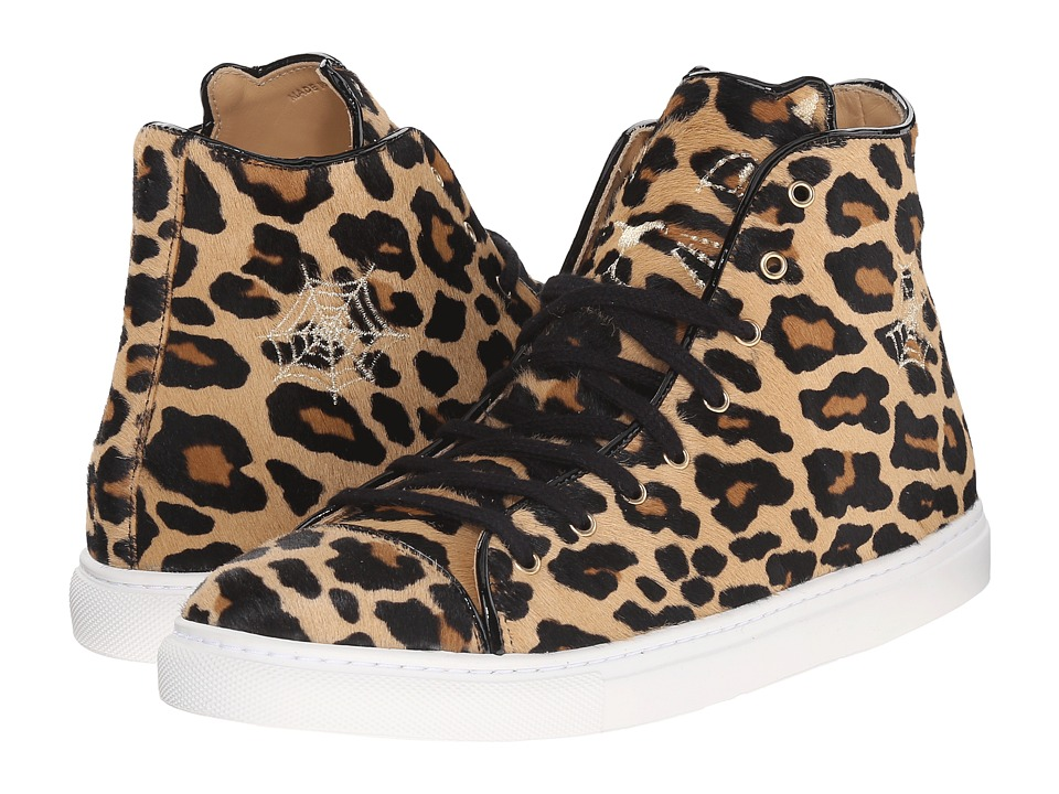 Charlotte Olympia Purrrfect High Tops Leopard Ponyskin Womens Lace up casual Shoes