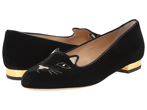 Charlotte Olympia Kitty Flats - Black/Gold Velvet/Metallic Calf