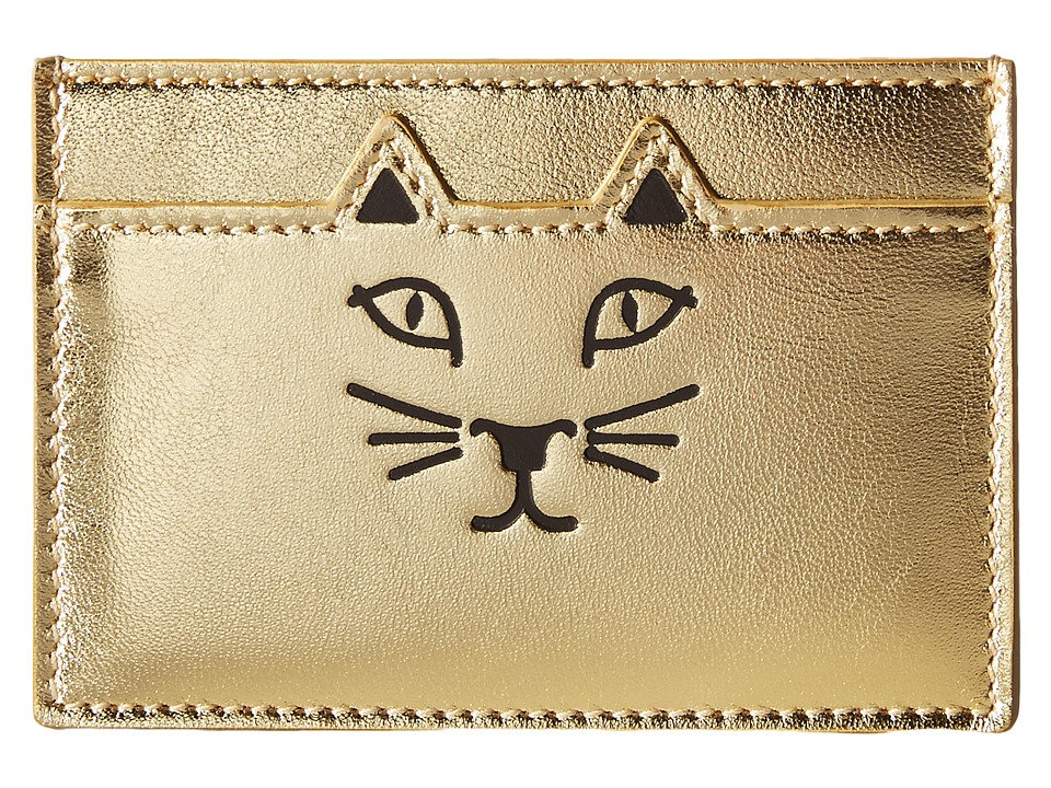 Charlotte Olympia Feline Card Holder Gold Credit card Wallet