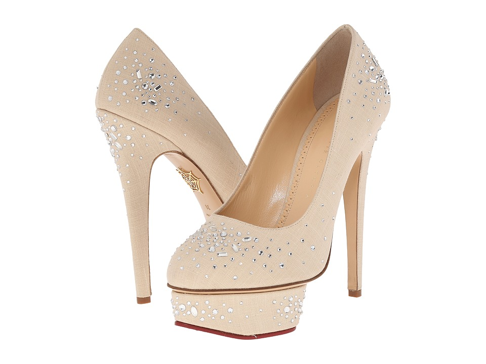 Charlotte Olympia Bejewelled Dolly Natural Linen High Heels