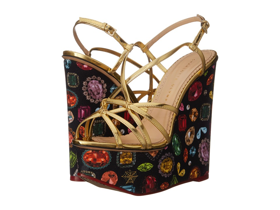 Charlotte Olympia Elizabeth Jewel Print/Gold Calf/Canvas Womens Wedge Shoes