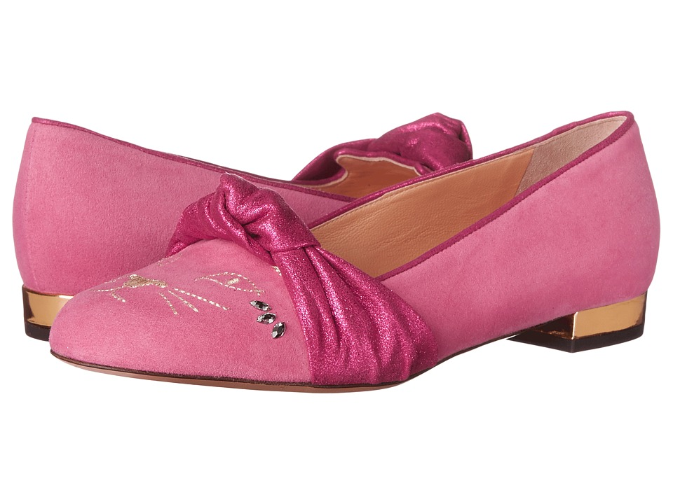 Charlotte Olympia Eccentric Kitty Cocktail Pink Suede Womens Flat Shoes