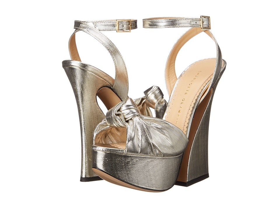 Charlotte Olympia Vreeland Silver Lame High Heels