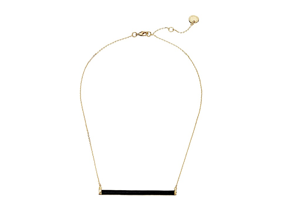 French Connection Leather Wrapped Tube Horizontal Pendant Necklace Gold/Black Necklace