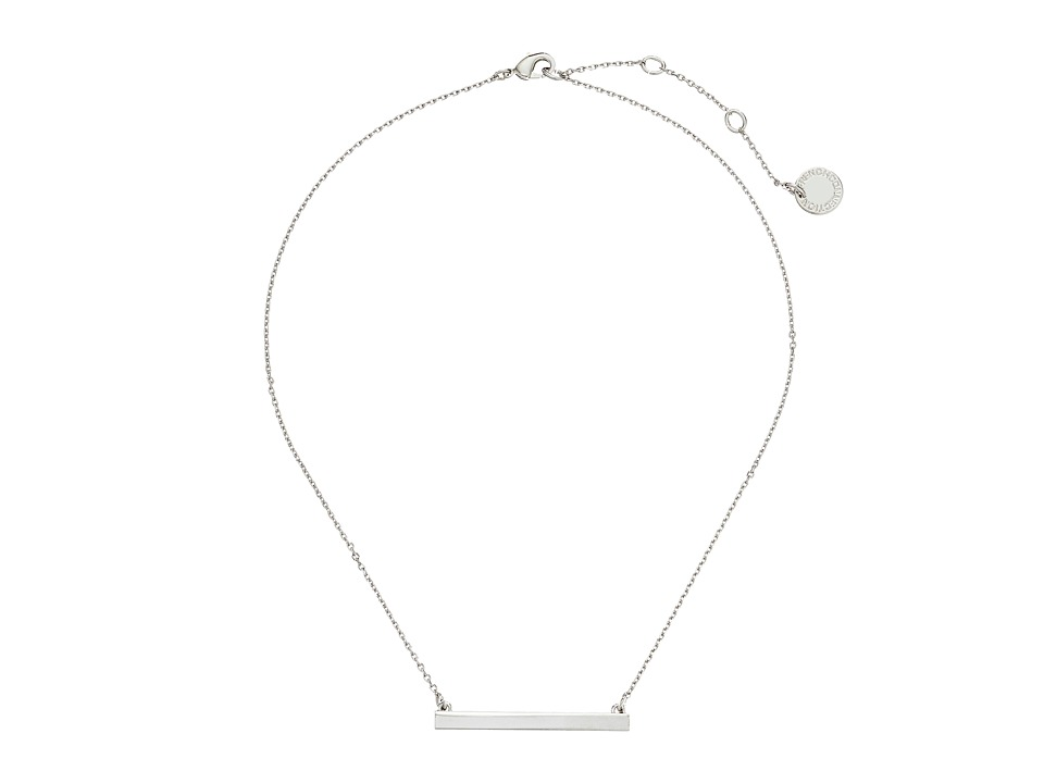 French Connection Horizontal Bar Pendant Necklace Silver Necklace