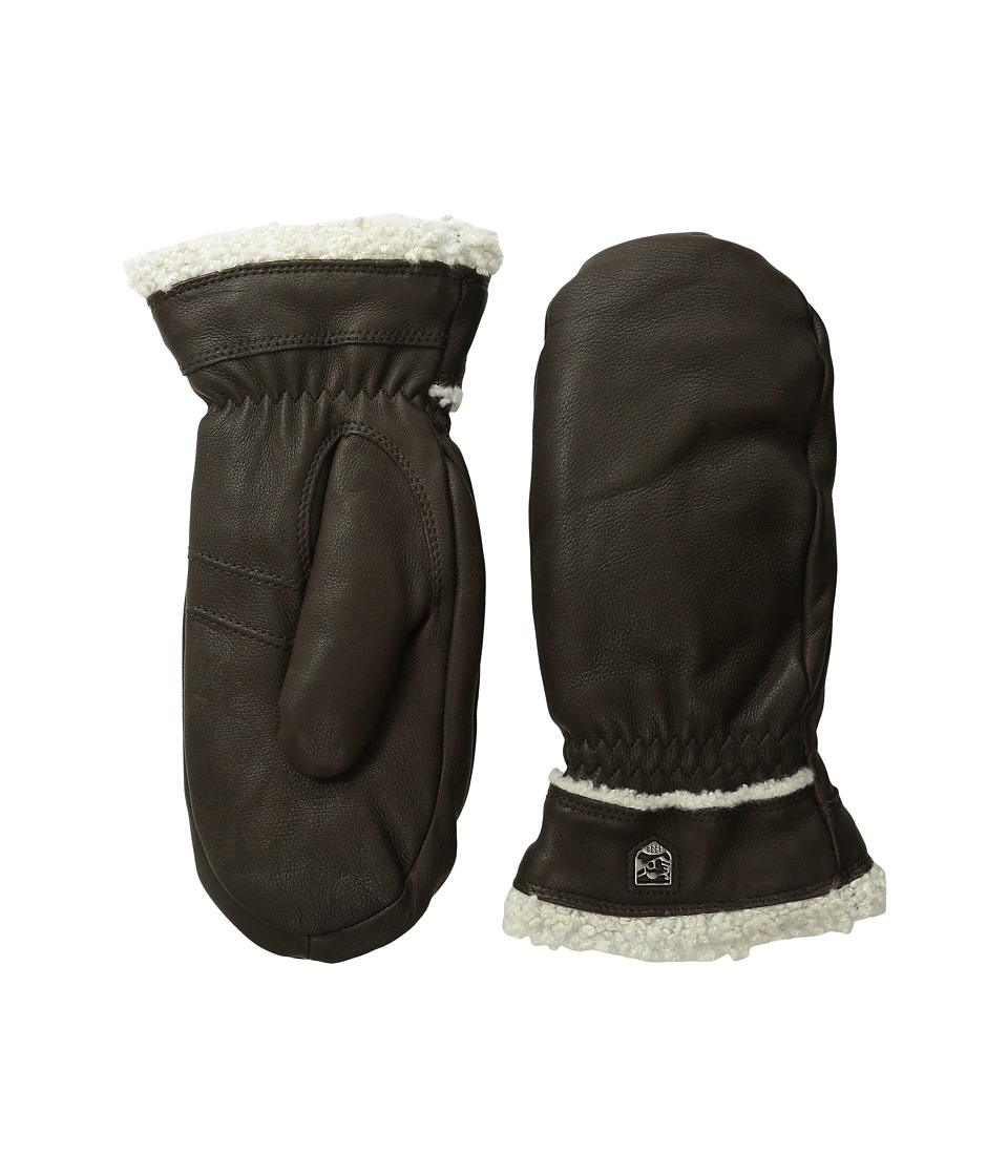 Hestra Deerskin Primaloft Mitt Dark Brown Ski Gloves