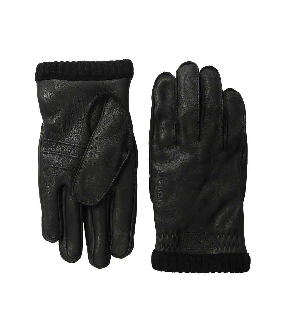 Hestra Deerskin Primaloft Rib Black Ski Gloves