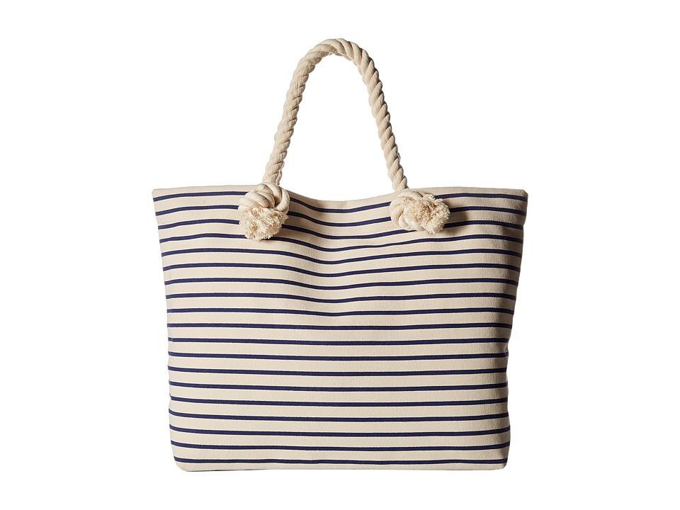 Hat Attack Perfect Canvas Beach Tote Navy Stripe Tote Handbags