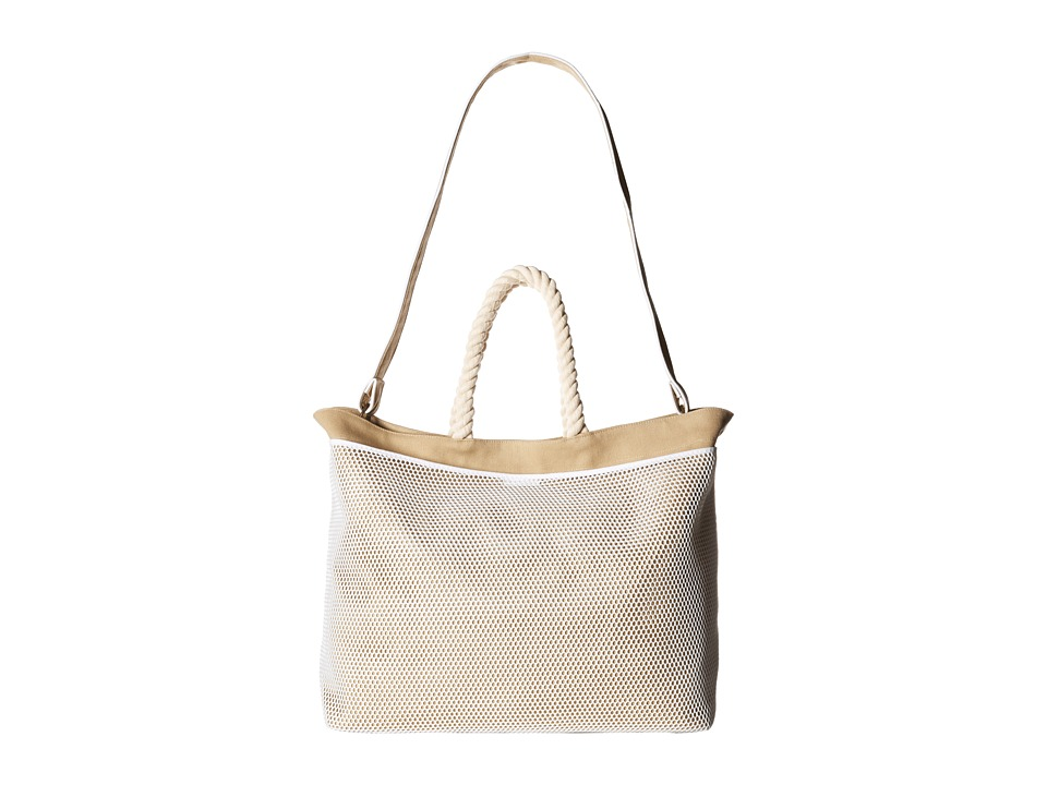 Hat Attack Canvas Mesh Pocket Tote Khaki Tote Handbags
