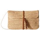 Hat Attack Raffia Crochet Clutch with Tassel Trim (Natural/Tobacco)