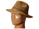 Hat Attack Raffia Crochet Classic Fedora with Sparkle Trim (Tobacco/Copper)