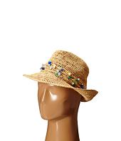 Hat Attack - Raffia Open Weave Fedora with Multi Stone Trim