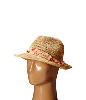 Hat Attack - Raffia Open Weave Fedora with Multi Stone Trim