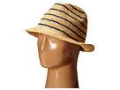 Hat Attack Stripe Crown Fedora (Natural/Navy)