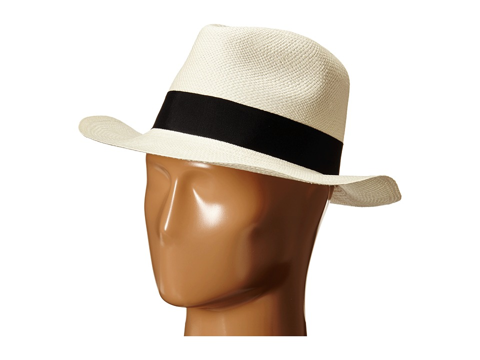 Hat Attack - Original Panama Fedora with Classic Bow Trim (Bleach/Black) Fedora Hats