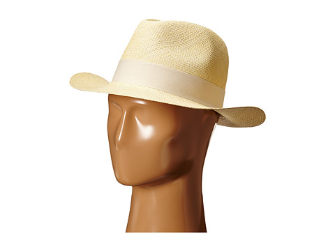 Hat Attack Original Panama Fedora with Classic Bow Trim - Natural/Ivory