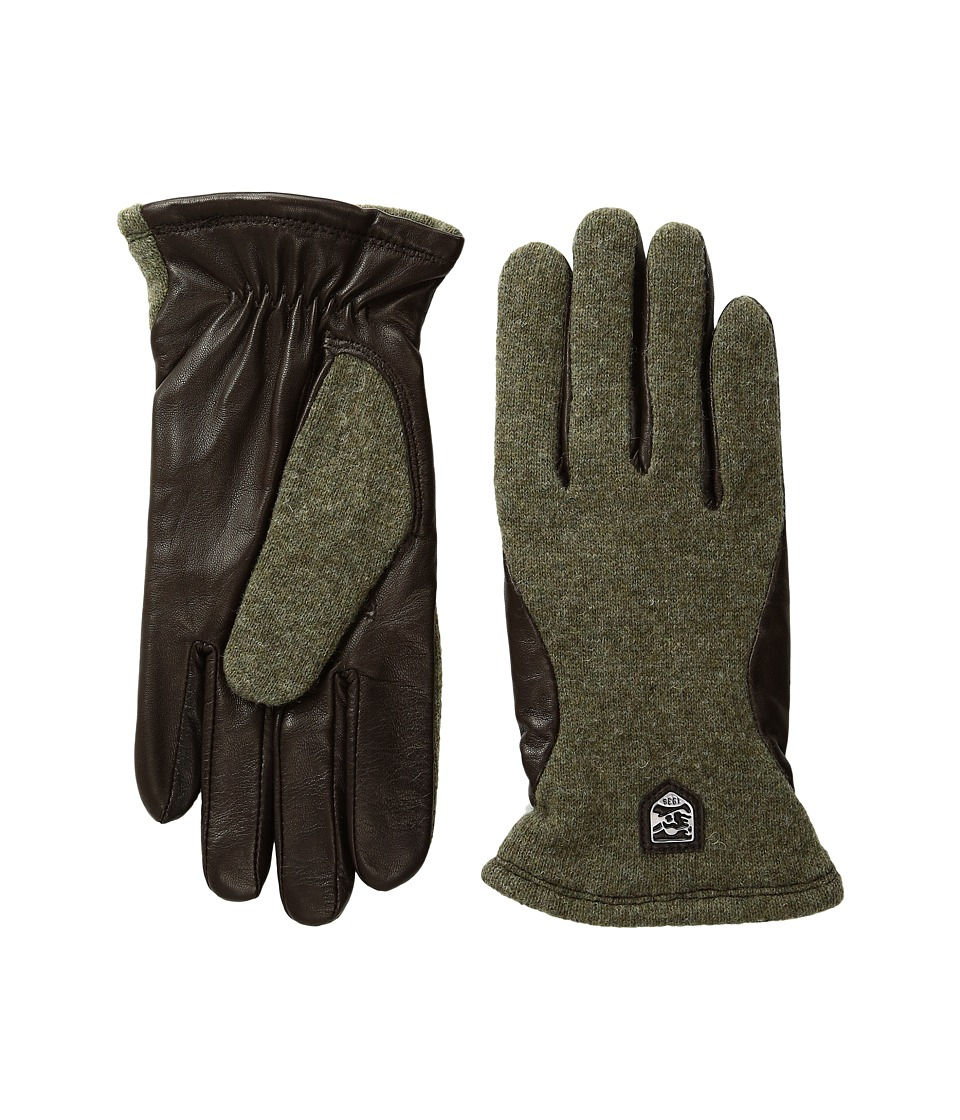 Hestra Hairsheep Wool Tricot (Dark Green/Dark Brown) Ski Gloves