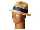 Hat Attack Raffia Crochet Short Brim with Bi Color Trim (Natural/Blue/Turquoise)