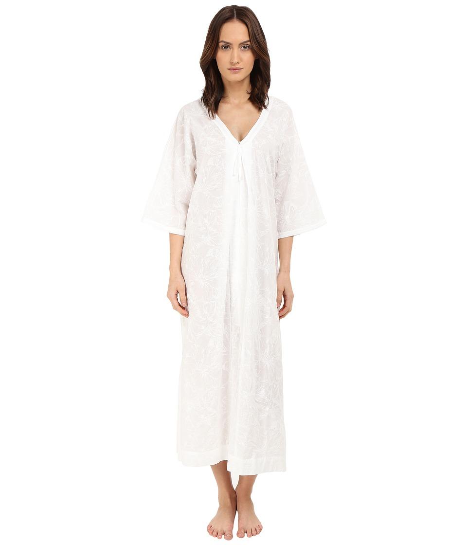 Oscar de la Renta - Embroidered Cotton Caftan (White/White Embroidery) Women's Pajama plus size,  plus size fashion plus size appare