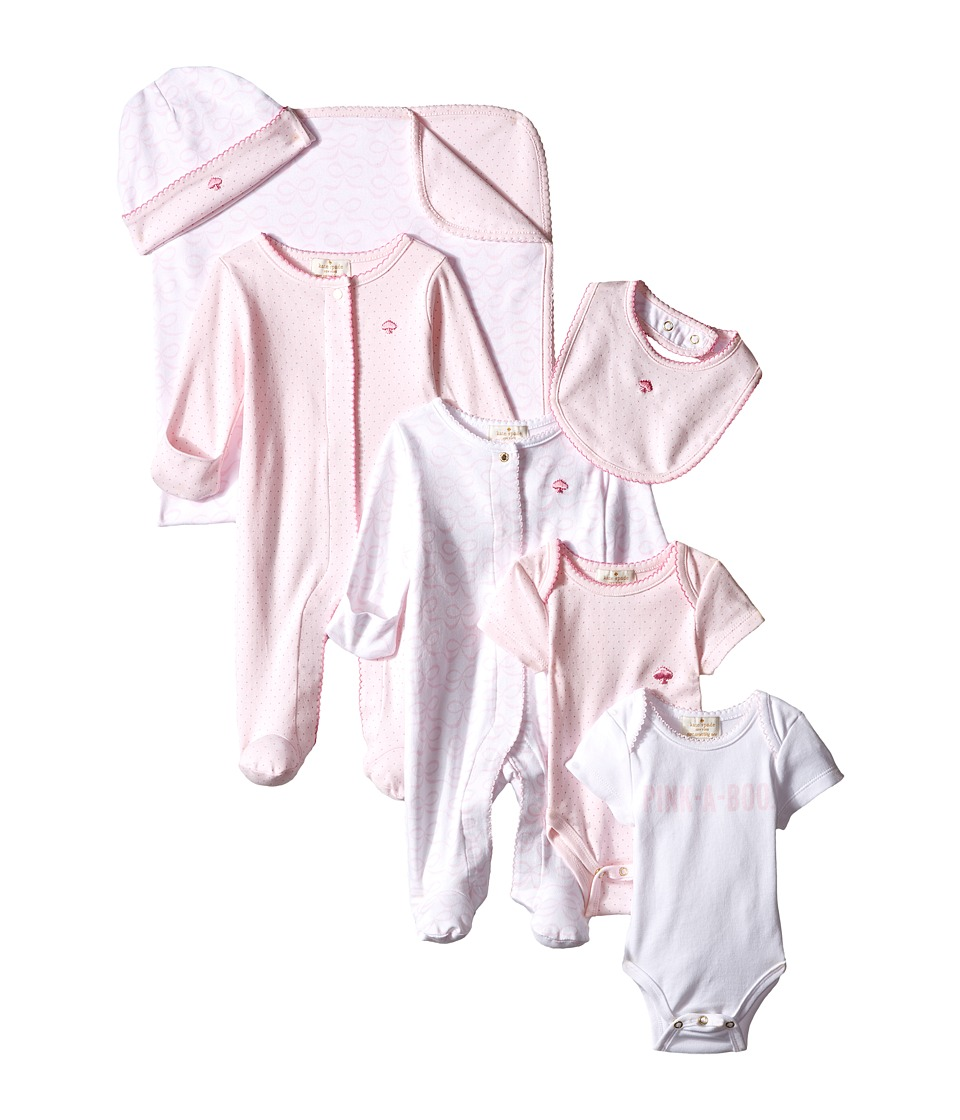Kate Spade New York Kids Pink A Boo Seven Piece Gift Box Infant Valentine Pink/Fresh White Girls Jumpsuit Rompers One Piece