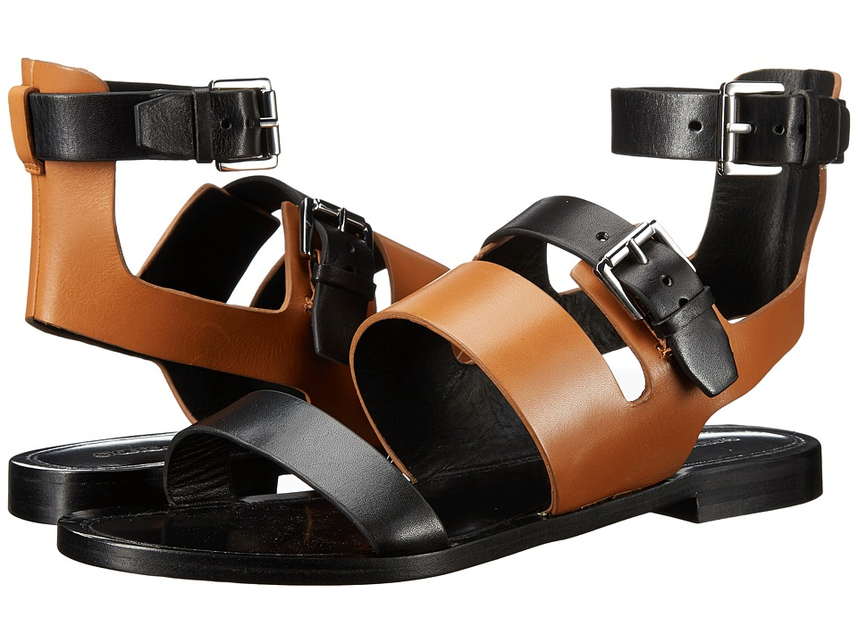 Sigerson Morrison Akili Black/New Luggage Leather Womens Sandals