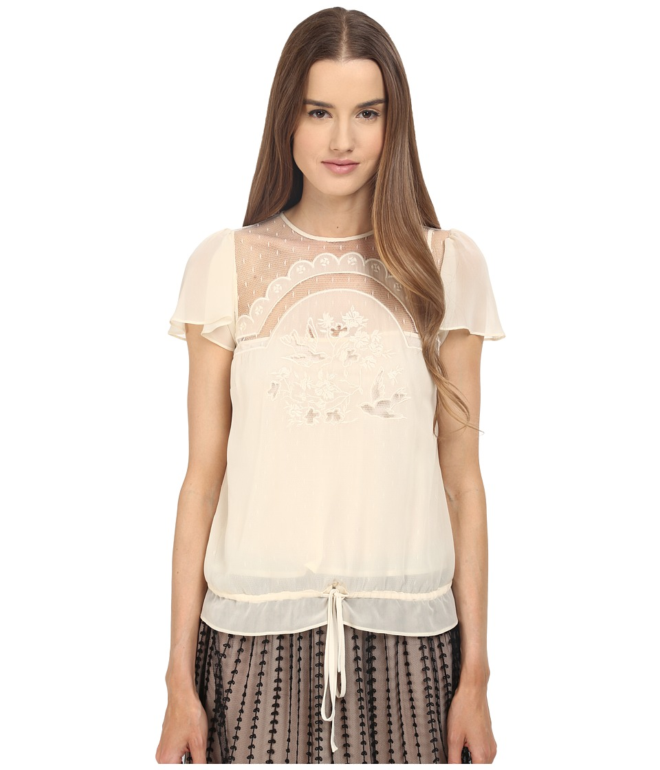 RED VALENTINO Cut Out Embroidery Point Desprit Blouse White Womens Blouse