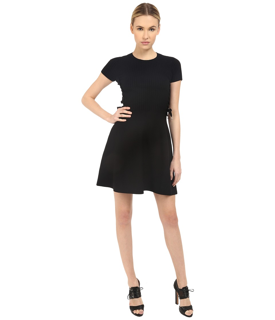 RED VALENTINO Fit Flare Dress with Tie Black Womens Dress