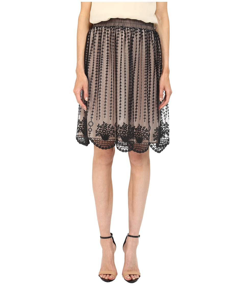 RED VALENTINO Fit Flare Tulle Skirt Black Womens Skirt