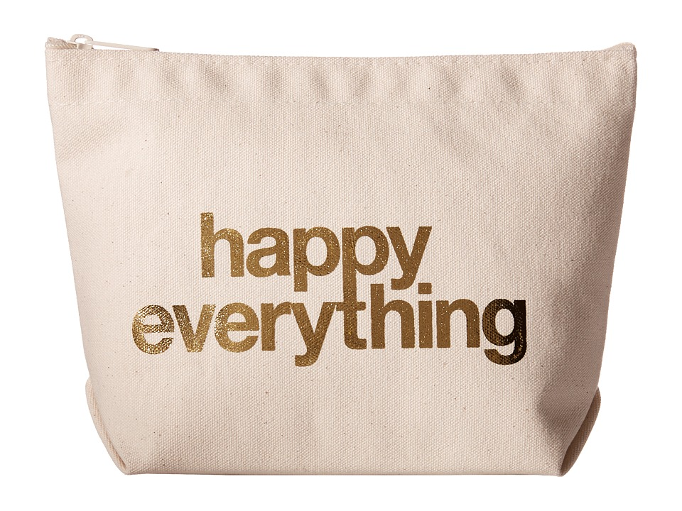 Dogeared Happy Everything Foil Lil Zip Canvas/Gold Clutch Handbags