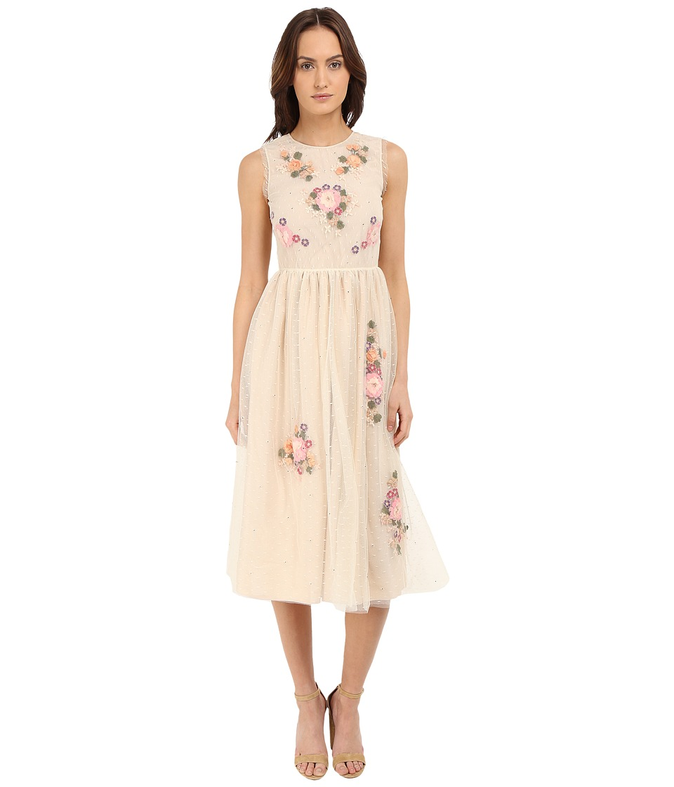 RED VALENTINO Floral Long Lace Dress Pink Womens Dress