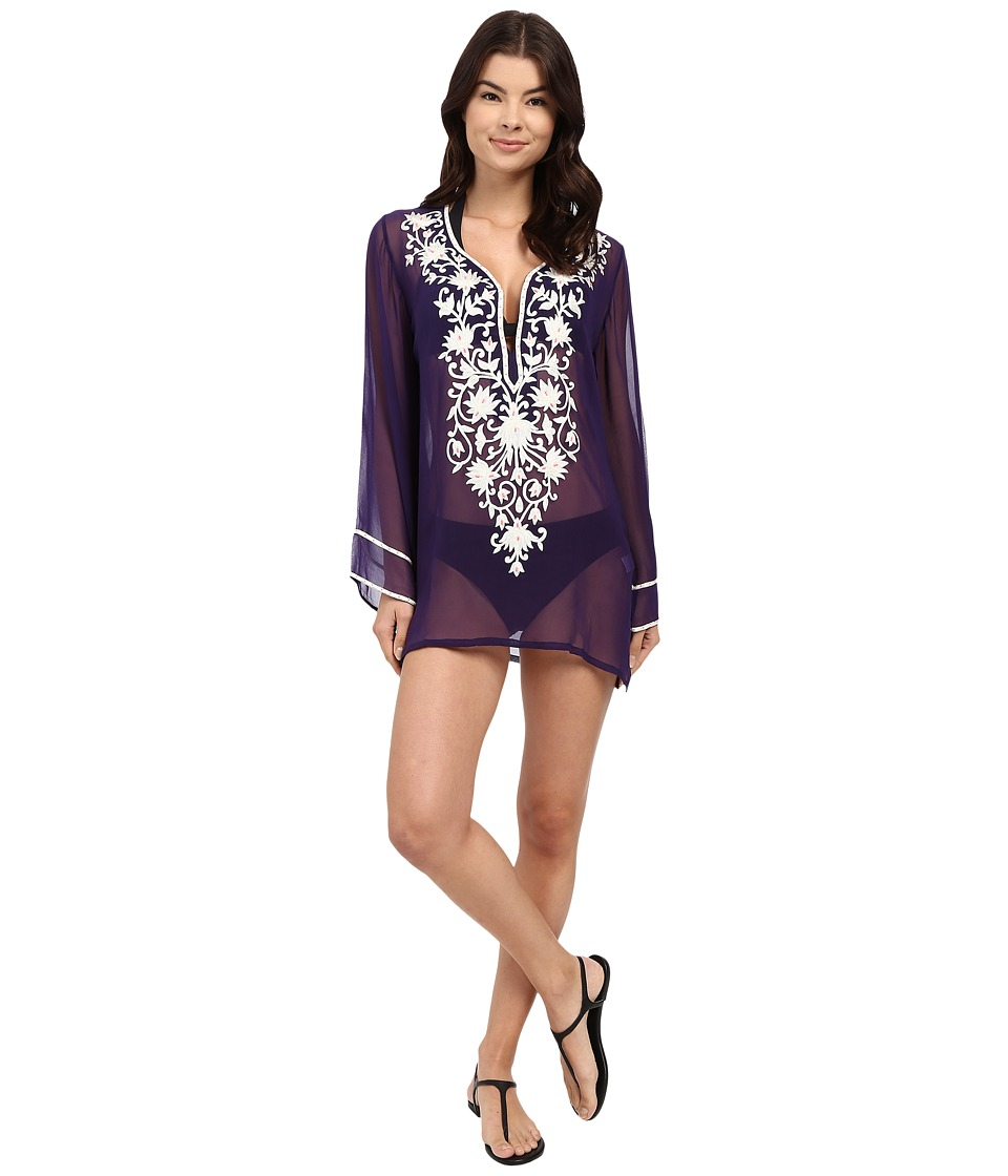Ella Moss Stella Embroidered Tunic Cover Up Purple Womens Swimwear