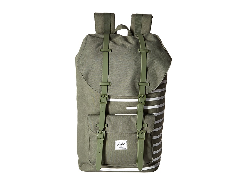 Herschel Supply Co. - Little America (Deep Lichen Green/Blanc de Blanc Stripes) Backpack Bags