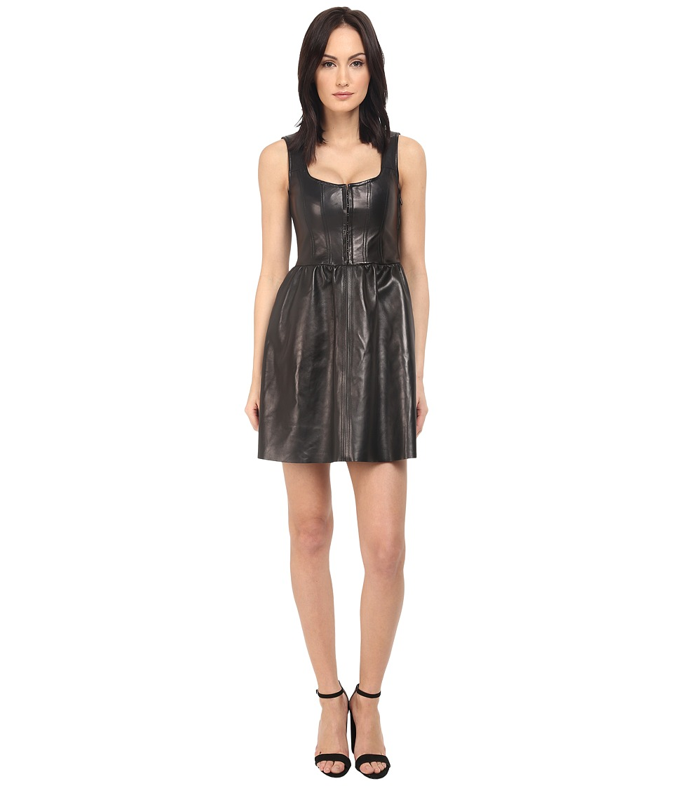 RED VALENTINO Corset Leather Dress Black Womens Dress