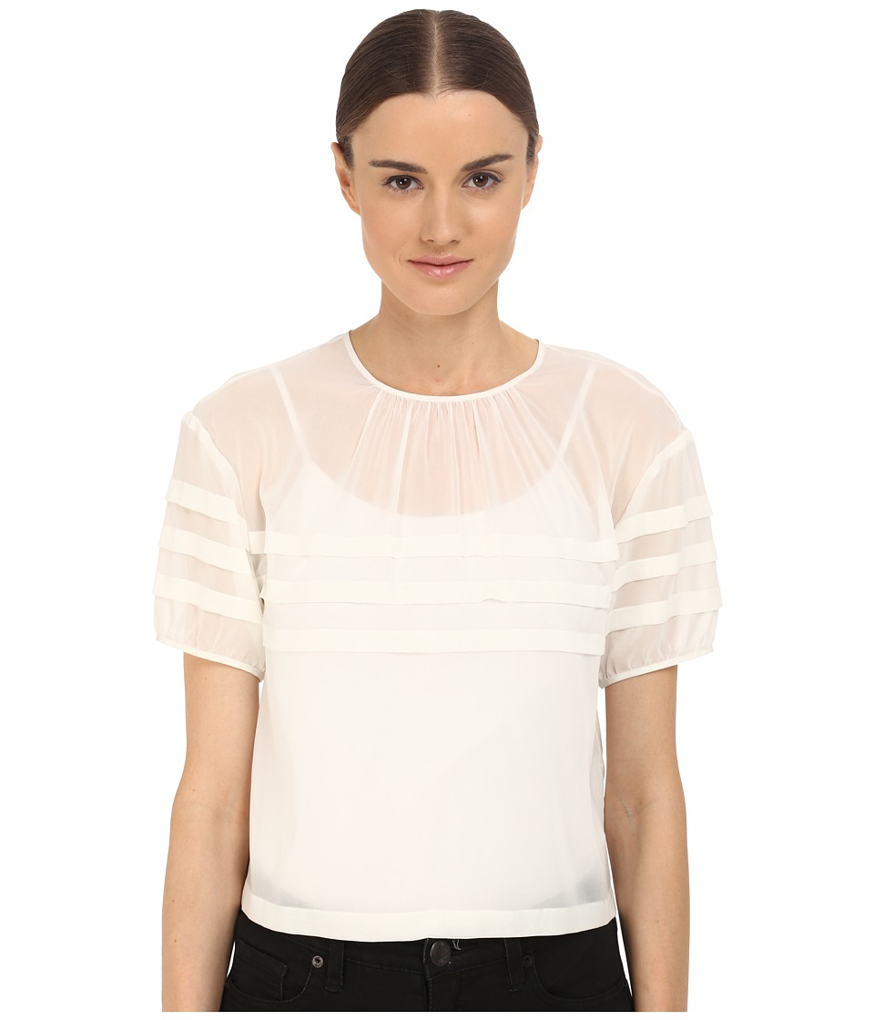 RED VALENTINO Crop Blouse with Stripe Detail White Womens Blouse