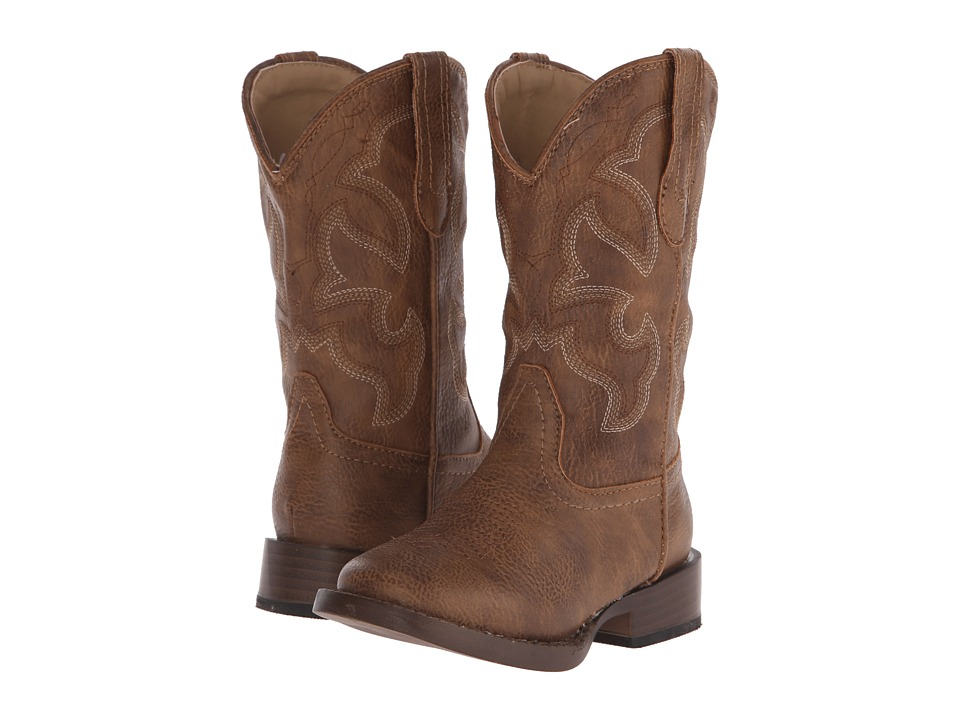 Roper Kids Cole Square Toe Boot (Toddler/Little Kid) (Tan) Cowboy Boots