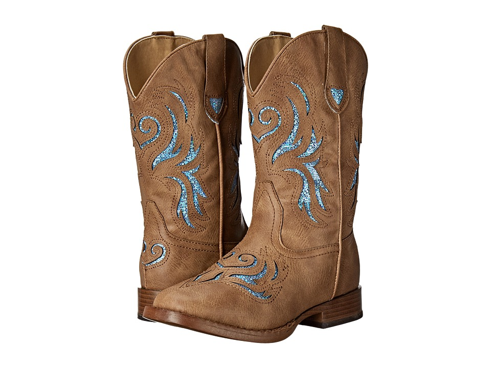 Roper Kids Glitter Breeze Square Toe Boot (Toddler/Little Kid) (Tan) Cowboy Boots