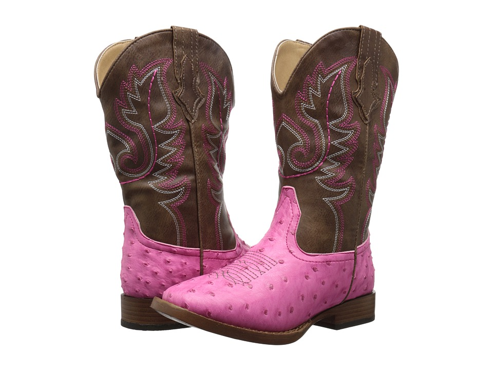 Roper Kids Annabelle Square Toe Boot (Toddler/Little Kid) (Pink) Cowboy Boots