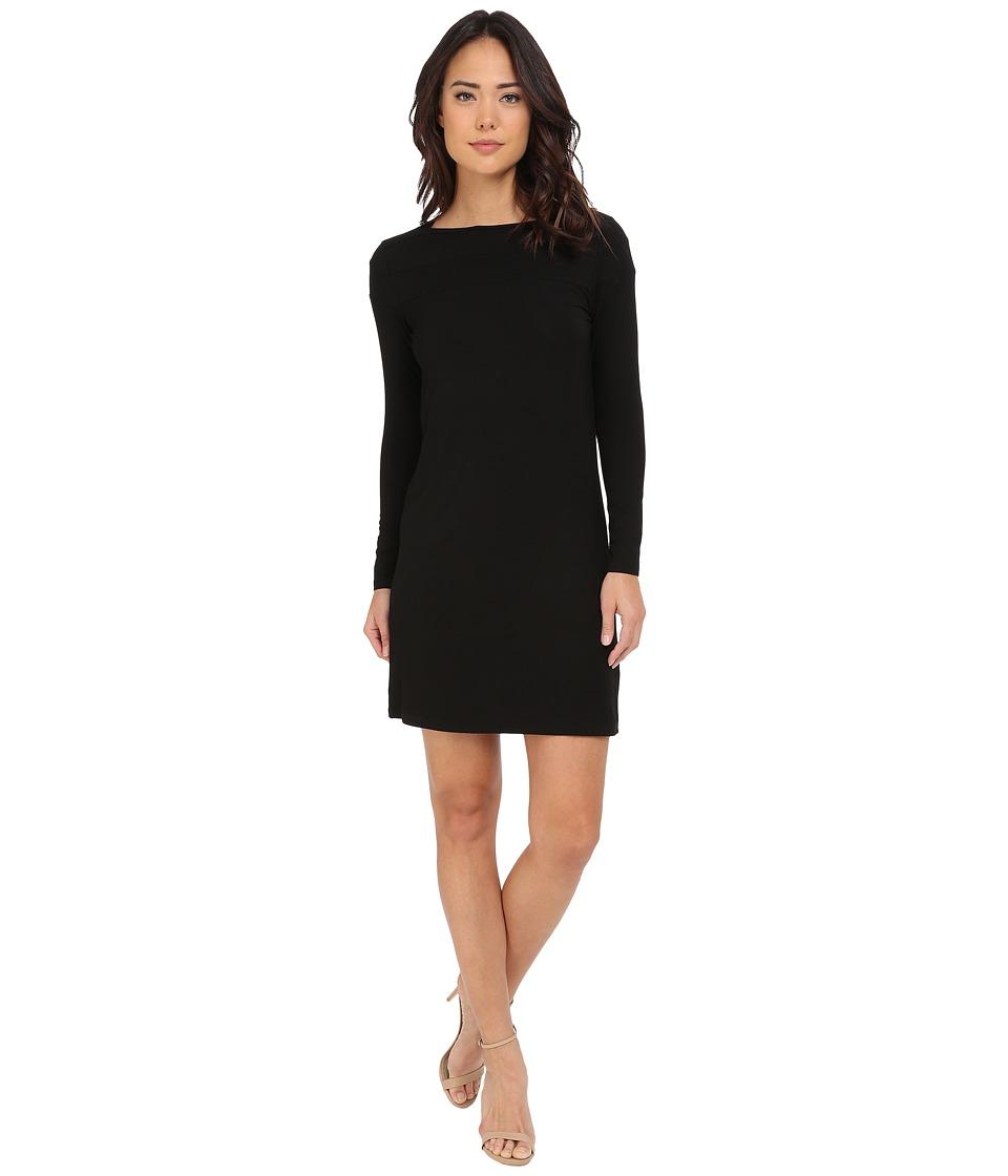 Christin Michaels Avery Boat Neck Long Sleeve Dress Black Womens Dress