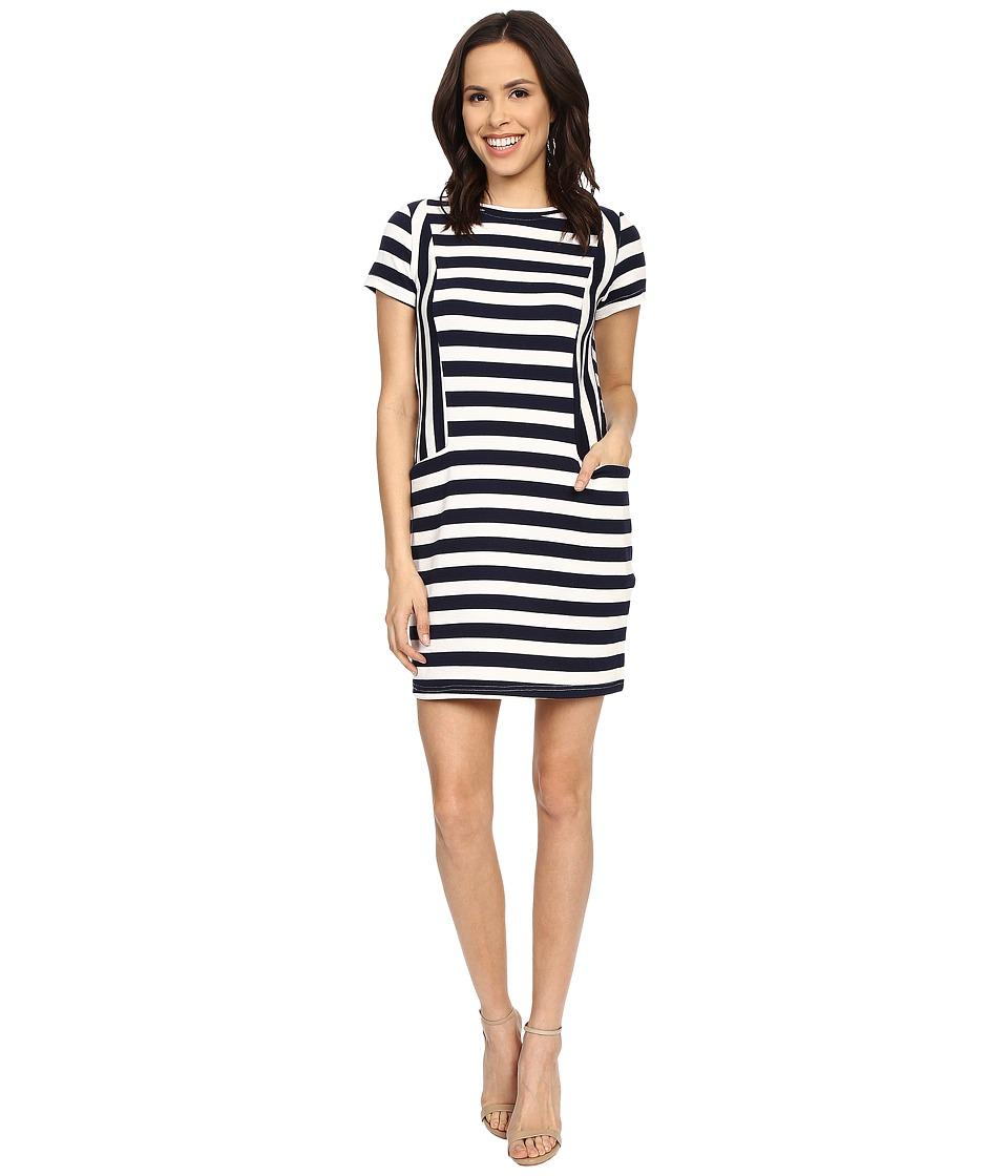 Brigitte Bailey Miranda Striped Short Sleeve Dress Navy/White Womens Dress