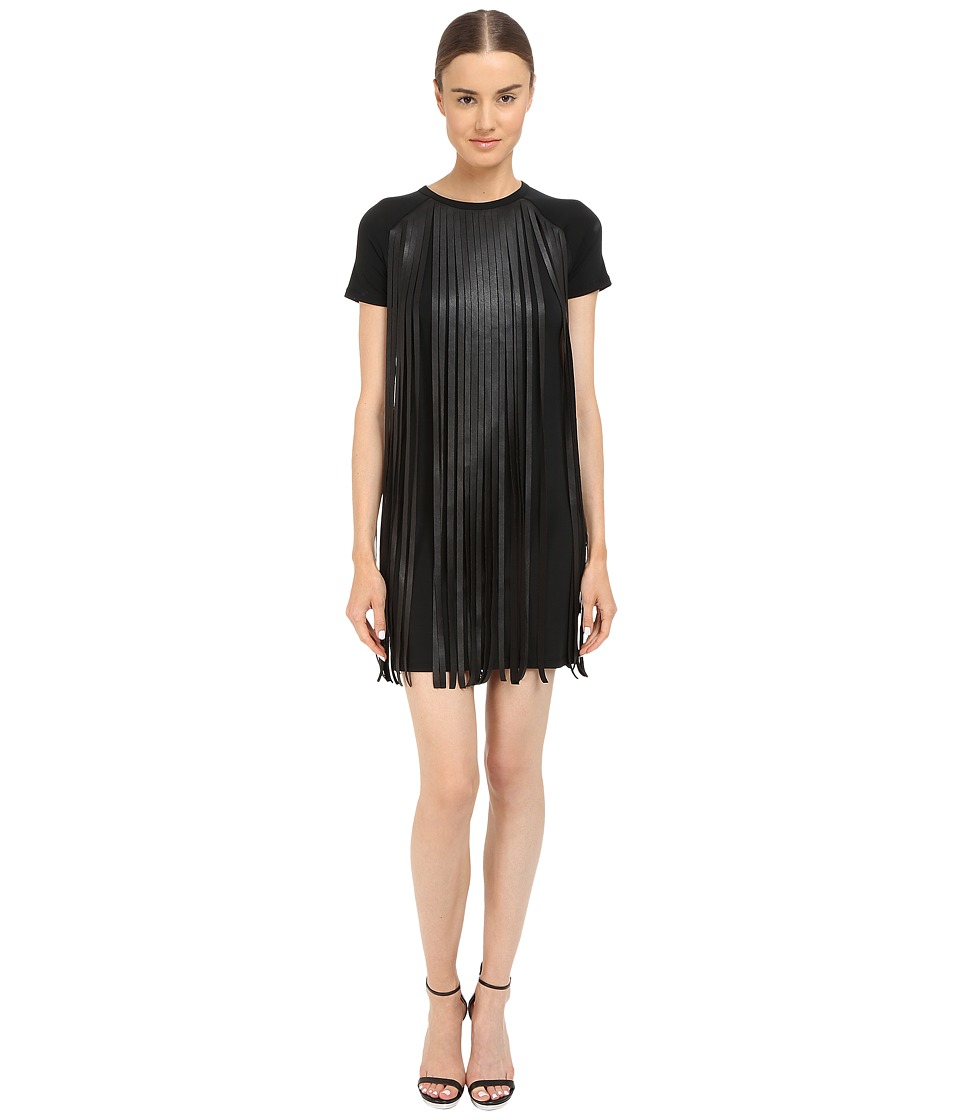 Neil Barrett Fringed Leather Jersey T Shirt Fringed Leather Crepe Dress Black Womens Dress