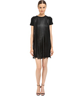 Neil Barrett - Fringed Leather Jersey T-Shirt Fringed Leather + Crepe Dress