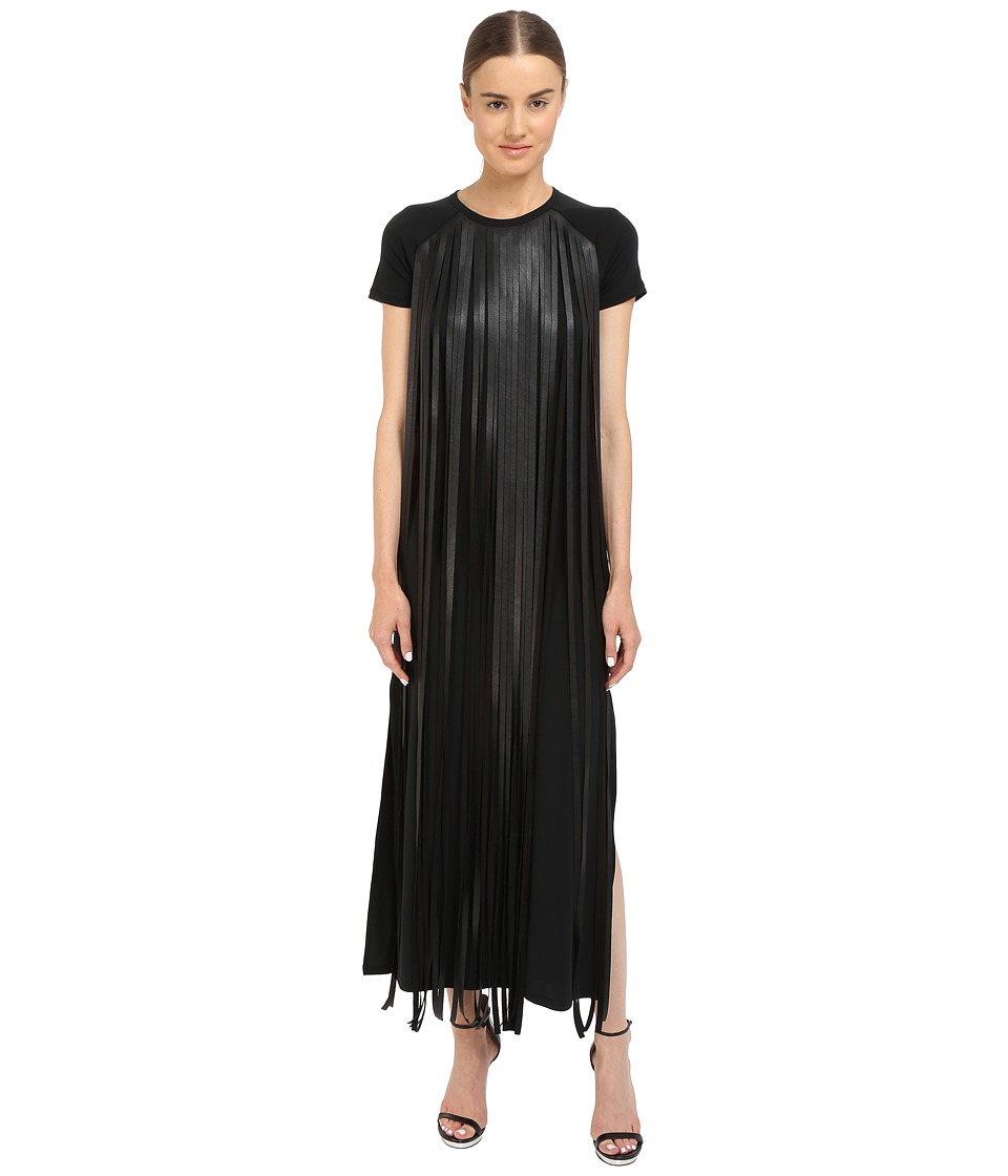 Neil Barrett Fringed Leather Jersey Long Fringed Eco Leather Crepe Stretch Dress Black Womens Dress