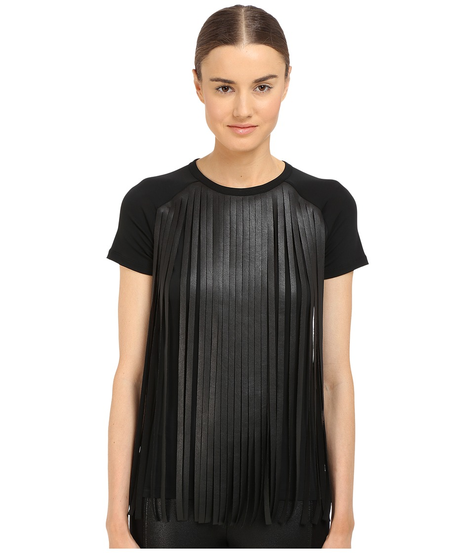 Neil Barrett Fringed Leather Jersey Fringed Eco Leather Crepe T Shirt Black Womens T Shirt