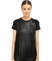 Neil Barrett - Fringed Leather Jersey Fringed Eco Leather + Crepe T-Shirt